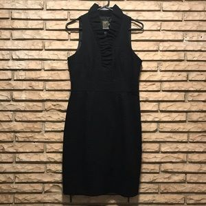 Sz 6 Taylor black sheath dress with ruffled v-neck